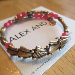 Alex & Ani beaded wrap gold tone